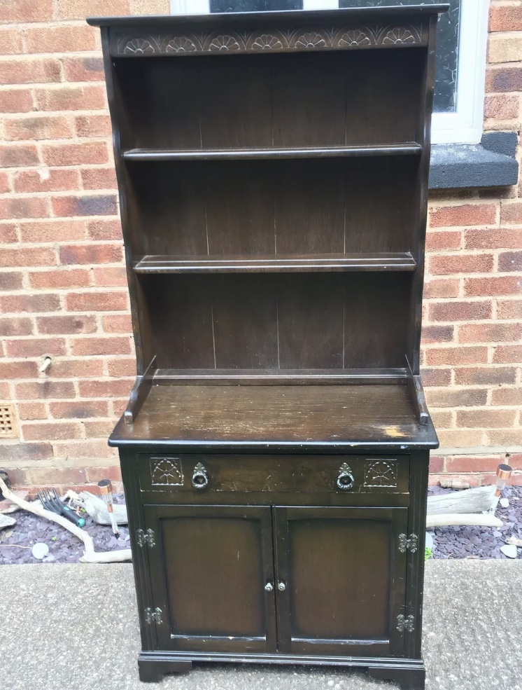Dark wood welsh kitchen dresser before upcycling