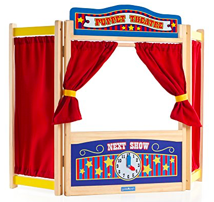 A picture of a wooden children puppet show toy. This is on our toddler summer bucket list
