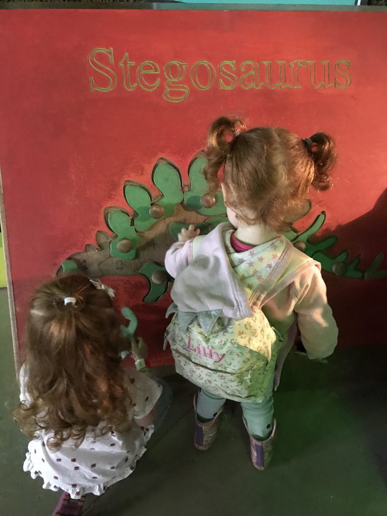 Two sisters doing a dinosaur puzzle at All Things Wild nature centre in Evesham