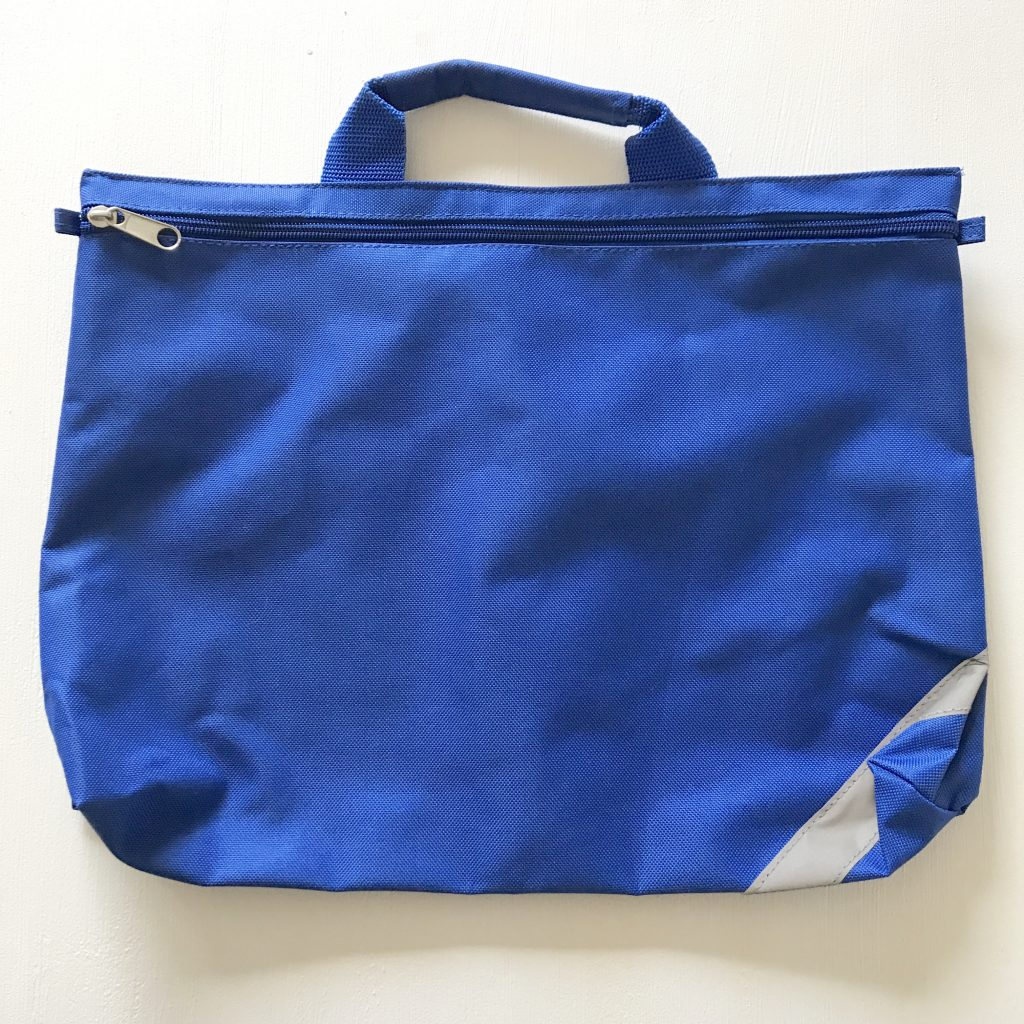 A photo of a blue school book bag which is a great nursery/preschool essential
