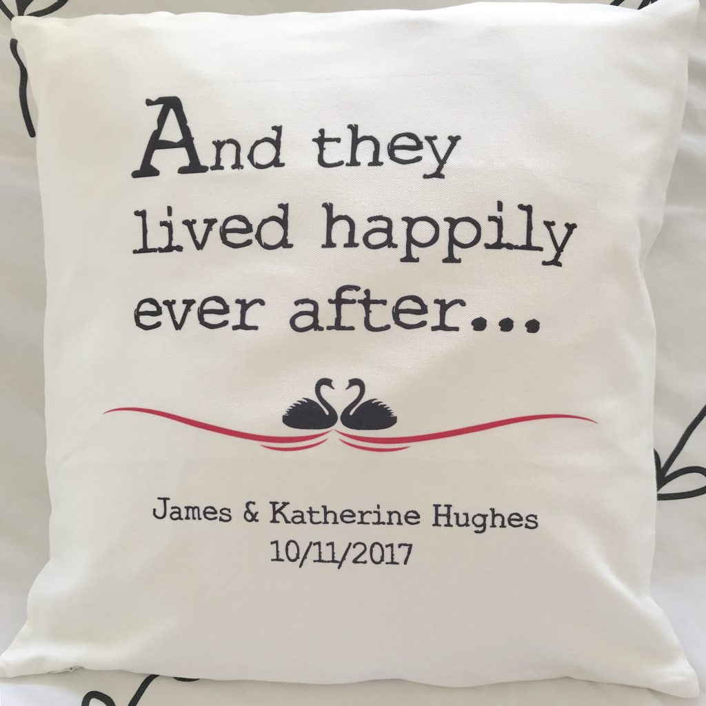 A photo of a personalised cushion cover from Happiness is a Gift