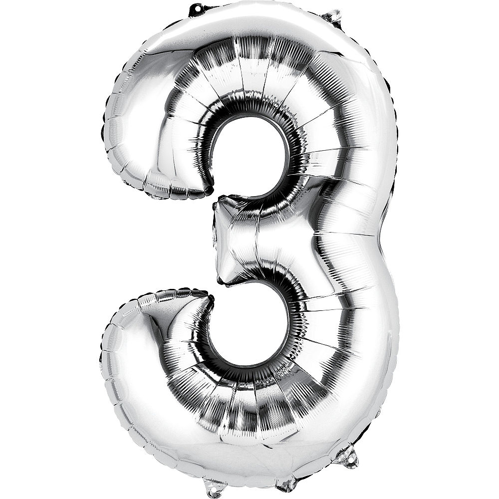 "A picture of a silver number ""3"" helium balloon"